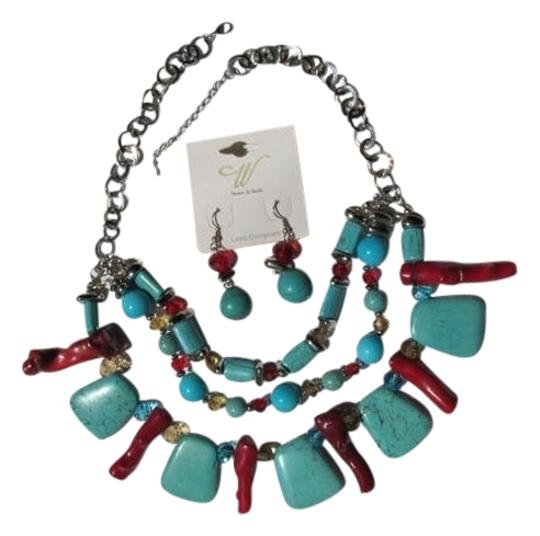 stones & beads NEW ON CARD! STATEMENT NECKLACE SET