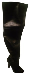 Colin Stuart Leather Over The Knee Black Boots