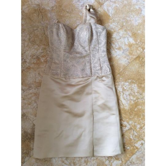 Anne Barge Champagne Silk Satin Feminine Wedding Dress Size 2 (XS)