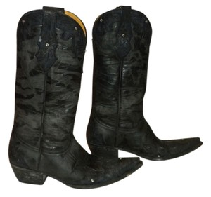 Old Gringo Swarovski Crystals Tooled Leather Black Boots