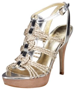 Sigerson Morrison Wood Strappy Gold Sandals