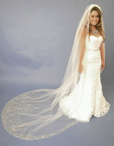 Elaborate Beaded Ivory Cathedral Length Wedding Veil E1122l