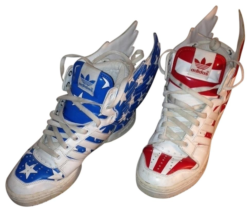 d2a3139e8ac2 adidas Red White Blue Jeremy Scott Sneakers Size US 8 - Tradesy