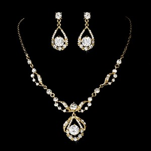 Elegance By Carbonneau Gold Plated Rhinestone Wedding Jewelry Set