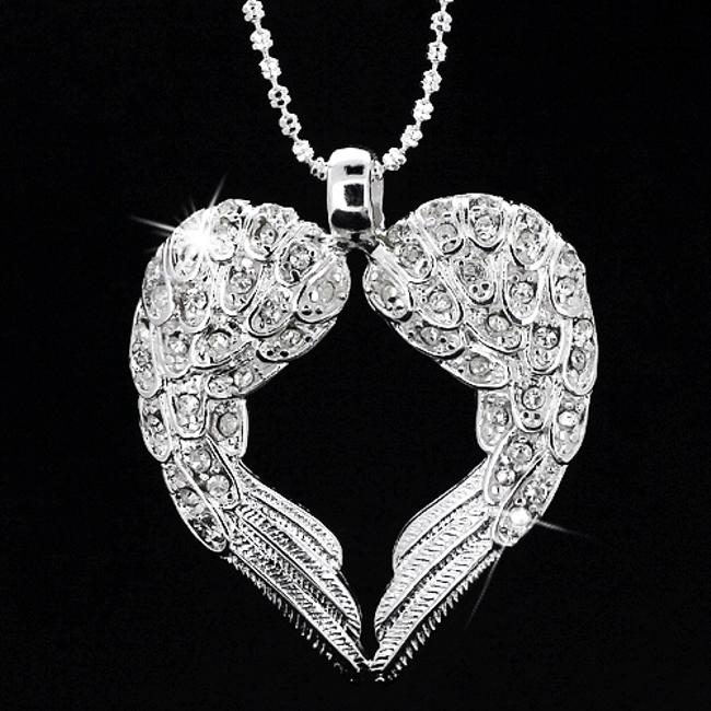 Item - Solid Angel Wings 925 Sterling Silver Swarovski Crystal Heart Feather Mother Daughter Bride Bridesmaid Best God Necklace