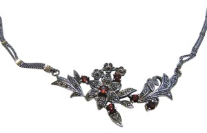 Gorgeous Sterling Silver Marcasite and Garnet Flower Necklace