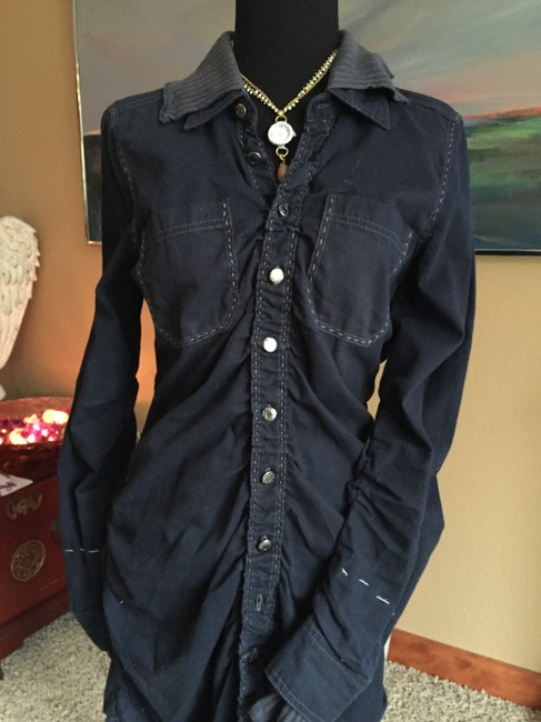 Free People Washed navy and grey Womens Jean Jacket