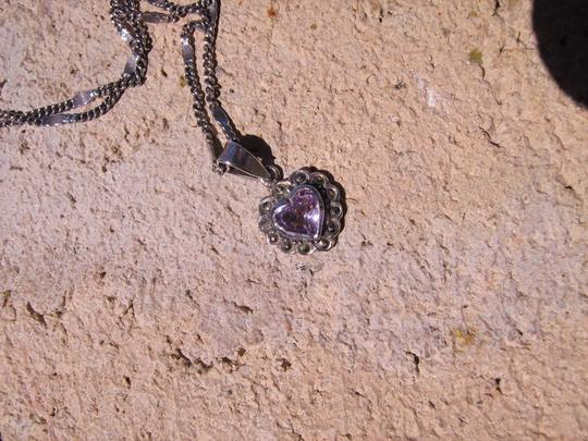 Other Sterling Silver Amethyst Heart Necklace
