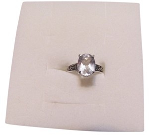 Beautiful White Topaz Sterling Silver Marcasite Ring Size 6