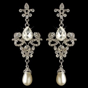 Elegance By Carbonneau Fleur De Lis Vintage Look Pearl Bridal Earrings
