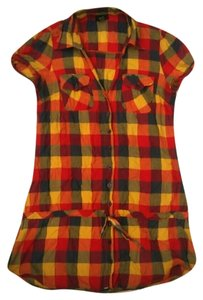 Rue 21 Womens Plaid Shirt Large Button Down Shirt Multicolored