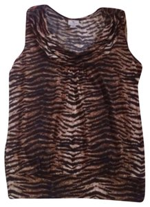 Worthington Womens Tiger Slouched Neck Shirt Medium Top Brown & Black