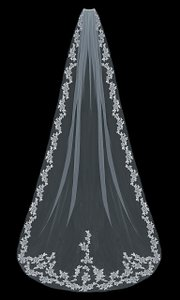 EnVogue Bridal Lace Cathedral Length Wedding Veil Envogue V1597c In Ivory