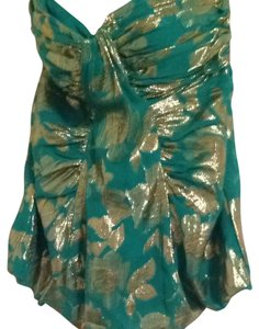 Bebe Top Emerald Green And Gold