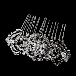 Elegance by Carbonneau Silver Vintage Look Crystal Comb Hair Accessory