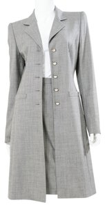 Escada Escada Grey Gray Virgin Wool Pencil Skirt Overcoat Suit Set