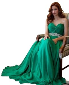 Jovani Emerald Silk Evening Dress