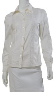 Escada Cotton Lace Blouse Neiman Marcus Button Down Shirt White