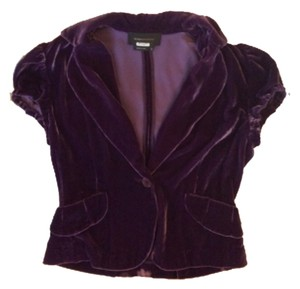 BCBGMAXAZRIA Velvet Short Peplum Top Purple