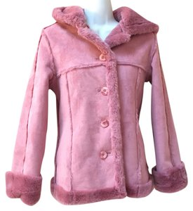 Limited Too Sherling Pink Mauve Rose Xxs 0 2 Jacket Suede Fur Coat