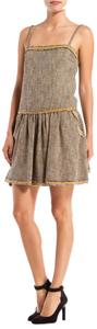 RED Valentino short dress Brown Gold Tweed Frayed Short on Tradesy