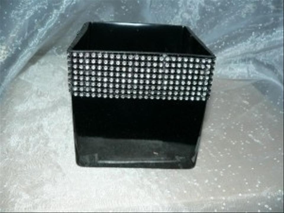Black Glass 5 Square Vases With Bling 12 Total Centerpiece Tradesy