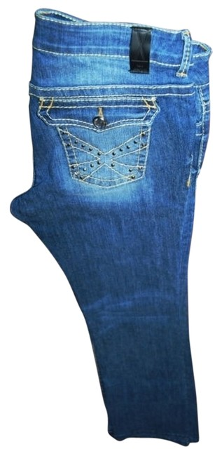 X TEN DENIM Bling Stretch Rhinestones Boot Cut Jeans-Medium Wash