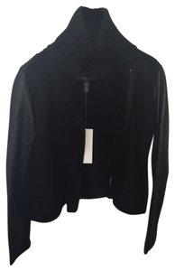 Kenneth Cole Leather Sweater Black Jacket