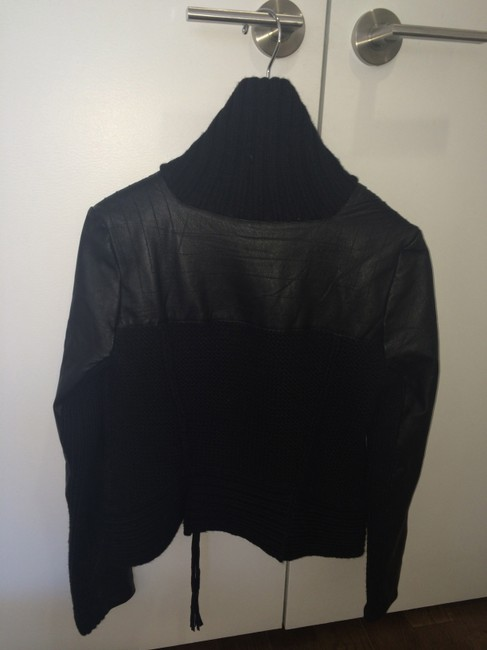 Kenneth Cole Leather Sweater Spring Black Jacket