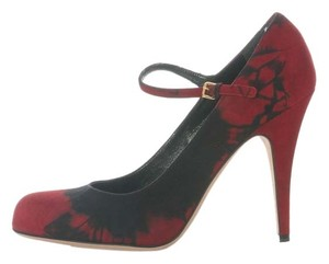 Miu Miu Tie Dyed Mary Janes Mm.eh1201.28 Black and Red Pumps