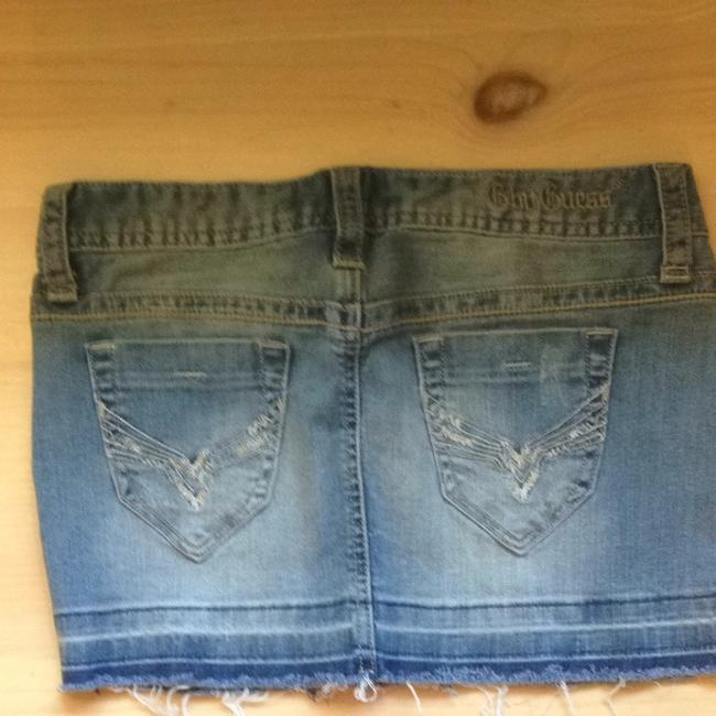 Guess Denim Distressed Skirt Light Wash