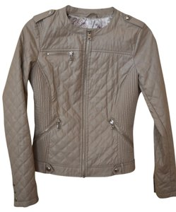 Guess Quilted Motorcycle Tan Motorcycle Jacket