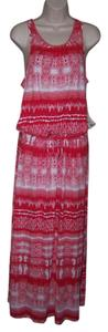Multi color Maxi Dress by 7 For All Mankind Medium Red White Sleeveless Maxi Swoop Neck New