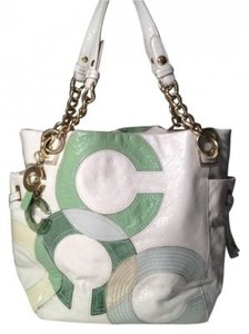 Coach Tote in Green/White