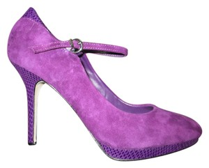 White House | Black Market Ankle Strap Suede Purple Pumps