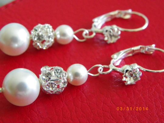Other White Swarovski Crystal Pearl Rhinestone Ball Beads Bridal Earrings Weddings Jewelry