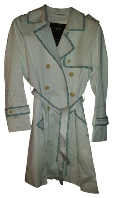 Item - White with Pale Turquoise Trim Coat Size 8 (M)