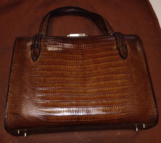 Italian Purses Vintage Lizard Femenine Delicate Satchel in Brown-Gold
