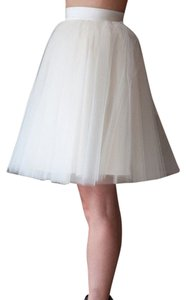 Alexandra Grecco Tulle Anthropologie A-line Knee Skirt Ivory