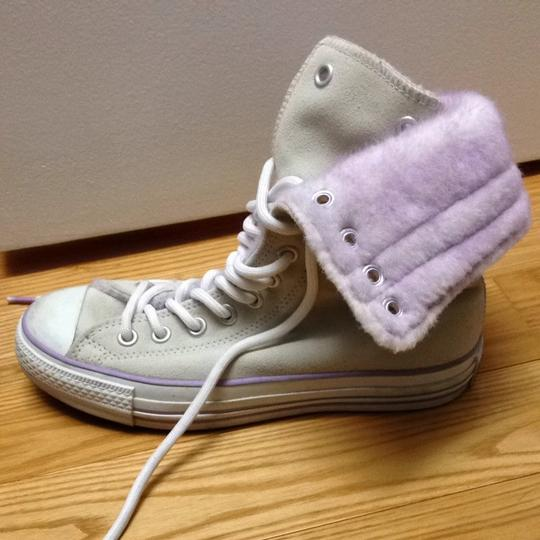 Converse Sneakers Ankle Warm Fur Cream, Purple, White, Silver Boots