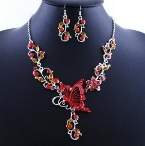 2pc Red Alloy Butterfly Set Free Shipping