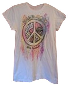 Hard Rock Cotton Logo Peace Sign Iconic T Shirt White and Multi-Color