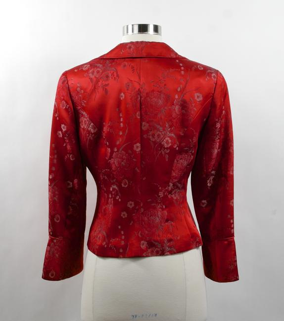 Nanette Lepore Size 4 Asian Flair Brocade Embroidered Shiny Jacket Designer Red Blazer