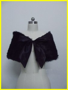 Black Fur Cape/shawl Prom Or Wedding Free Shipping