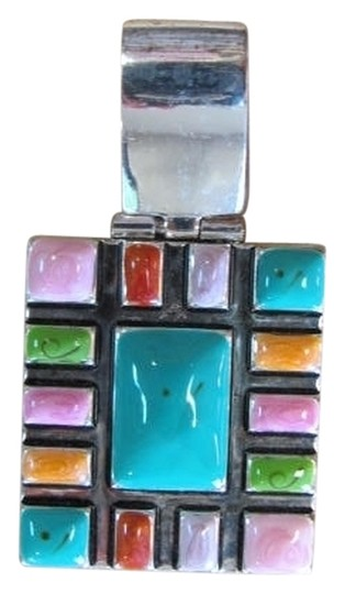Preload https://item1.tradesy.com/images/silvertone-green-red-pink-salmon-lilac-square-look-pendant-829630-0-0.jpg?width=440&height=440