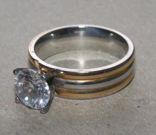 Silver/Gold Bogo Free 2 Tone Stainless Steel Free Shipping Engagement Ring