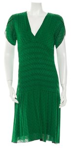 Green Maxi Dress by Diane von Furstenberg Silk Polka Dot Drop Waist