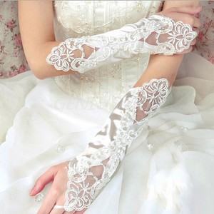 Beautiful Long Satin & Lace Wedding/prom Gloves Free Shipping