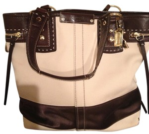 Coach Tote in Tan w Brown Leather Trim