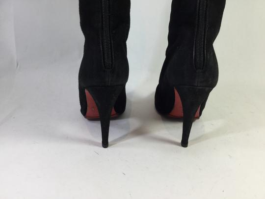 Christian Louboutin Suede Leather Knee High Black Boots